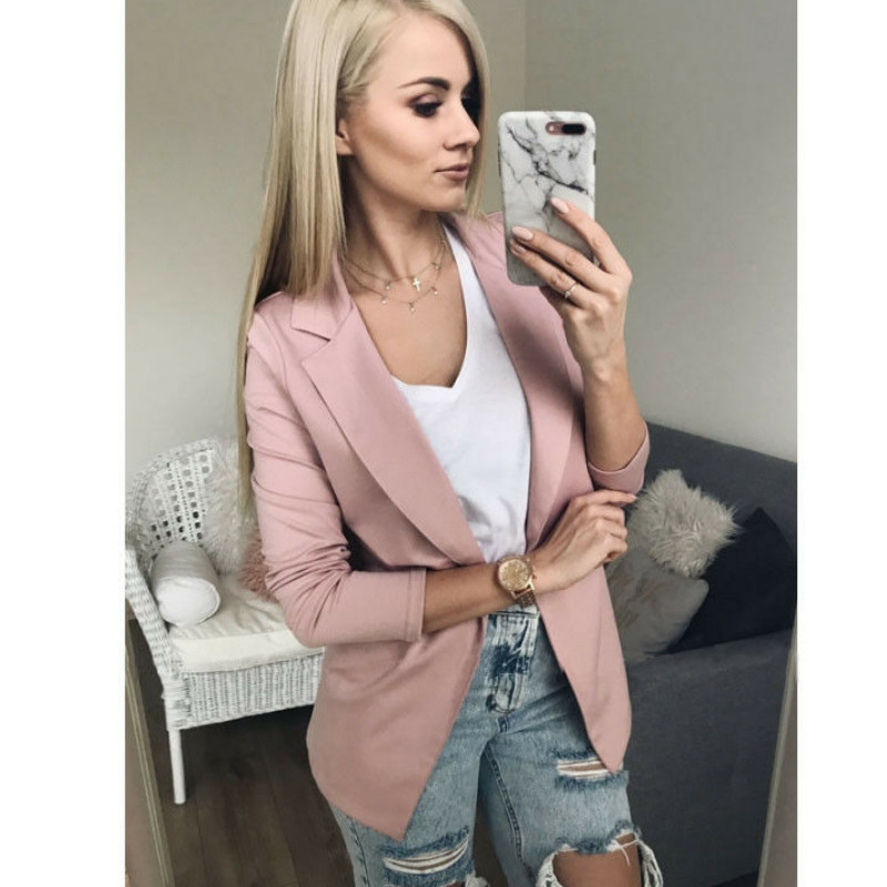 2019 Hot Fashion Women Ladies Suit Coat Blazer Casual Slim Blazer Business Long Sleeve Jacket Outerwear Pink Black