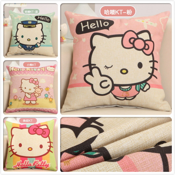 Cartoon Hello Kitty Print Cushion Covers Home Decorative Sofa Seat Back Pillow Case Car Office Chair Lumbar Cushioncover 45*45cm ...