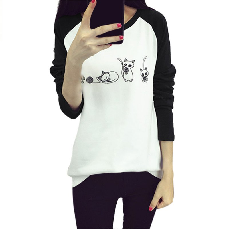 Mixed Color Korean Women Cartoon Cat Printed T-shirt Loose T-shirts Female Tops Tee a12