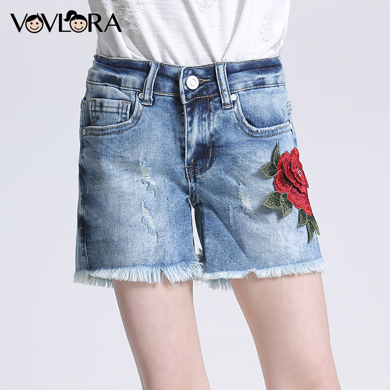 2018 Summer New Girls Denim Shorts Cotton Embroidery Rose Ripped Loose Kids Shorts Pants Jeans Size 9 10 11 12 13 14 Years 2016 new summer mens straight denim shorts large yards five cents knee length jeans shorts for man high quality cotton jeans men