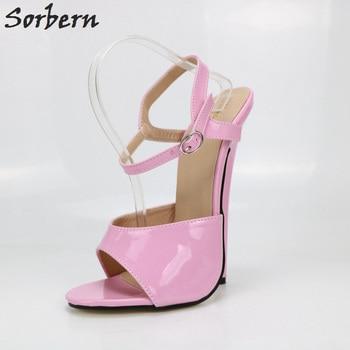 Sorbern Candy Color Women Sandals Ultra High Heels 18Cm Ankle Strap Open Toe Summer Shoes Pole Dance Shoes Fetish High Heels