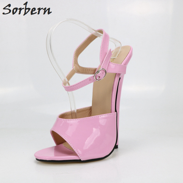 Sorbern Candy Color Women Sandals Ultra High Heels 18Cm Ankle Strap Open Toe  Summer Shoes Pole Dance Shoes Fetish High Heels 9b82edb9be60