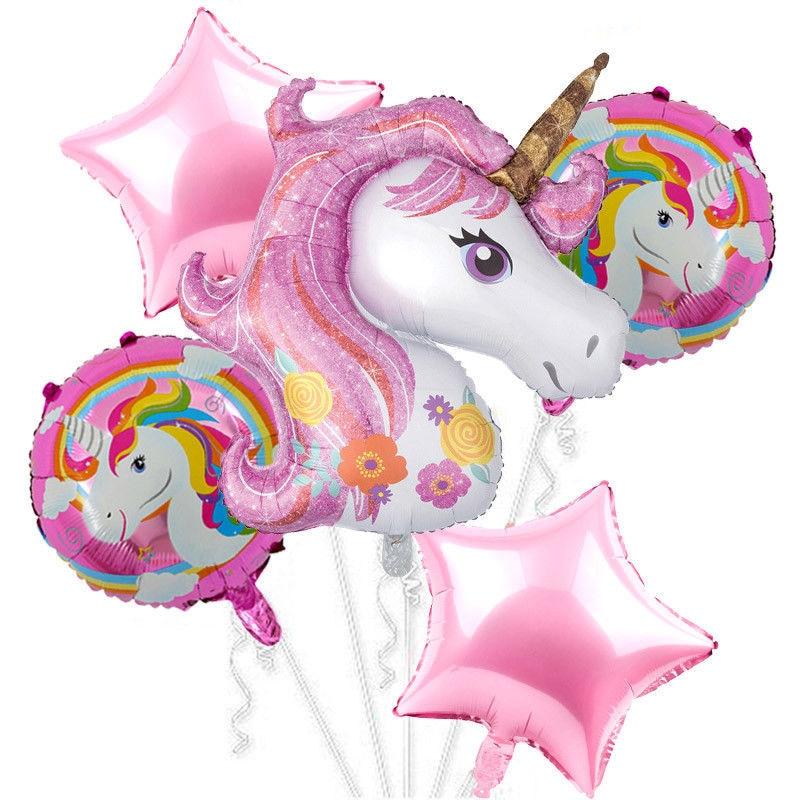 Partigos Unicorn Theme balloons 18 inch Birthday star Round Party Decor Balloon Unicorn Kids Rainbow Party Supplies Balloons