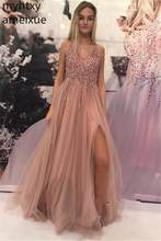 New Sexy High Slit Pink Prom Dress Cheap Long 2019 Beaded V-neck Tulle Party Gowns Women Gauze Dress Elegant Evening Dresses(China)