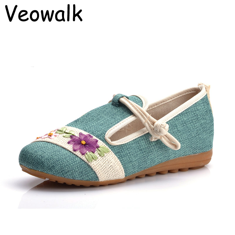 Veowalk Big Size 40 Spring Retro Style Shoes Woman,Women Old Peking Flats Chinese Flower Embroidery Canvas Shoes sapato feminino vintage embroidery women flats chinese floral canvas embroidered shoes national old beijing cloth single dance soft flats