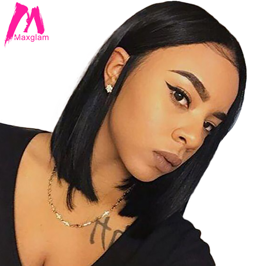 Maxglam Bob Wigs Short Human Hair Lace Front Wigs For Afro American Brazilian Straight Remy Hair Free Shipping(China)
