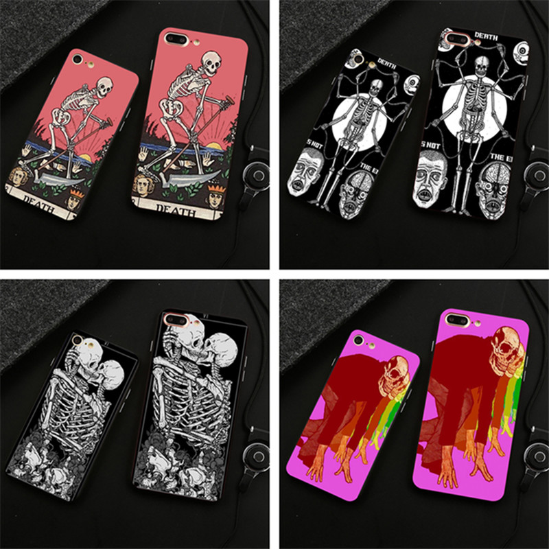 Death Tarot Cell Soft Silicone Phone Case Cover For Iphone X 5 5C 6 6S 7 8 6&Amp;6S Plus 7 Plus 8 Plus