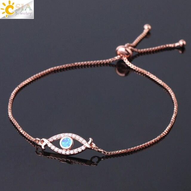 CSJA Devil Eye Women Bracelets Shiny Zircon Opal Evil Eyes Adjustable Link Chain Bracelet for Party Banquet Fashion Jewelry G086