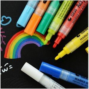 Image 2 - STA 14 Colors Bright Colorful Waterproof Metallic Acrylic Paint Art Marker Pen Sketch Craft Scrapbook Set Cartoon Design Manga