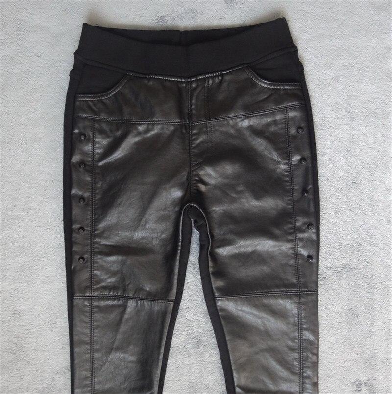 Image 5 - Plus Size 4XL Rivets Stitching PU Leather Leggings Women Plus  Velvet Legging Pencil Pants Motorcycle High Waist Leggings C3930leather  leggingsleather leggings womenpu leather leggings