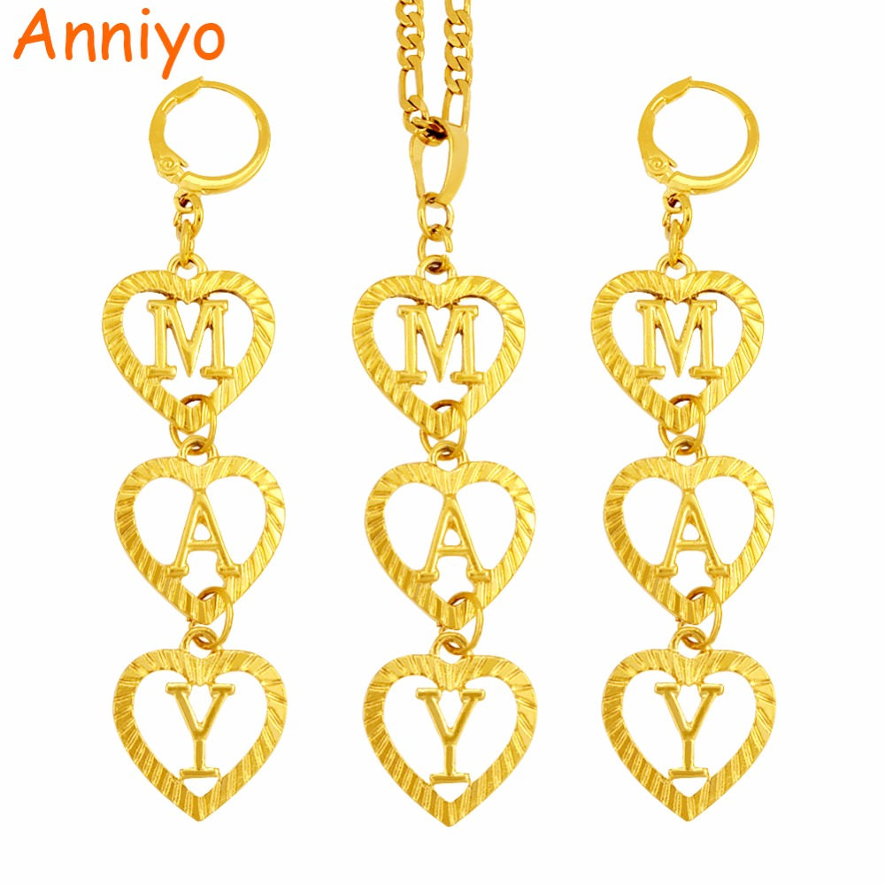 Anniyo DIY Customized Letter Initial Name Necklace/Earrings for Women (hanging 3 letters,Tell me what name do you want) #104506 tell me what