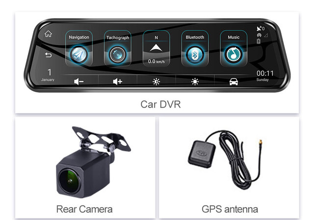 Android Car DVR Camera RearView Mirror