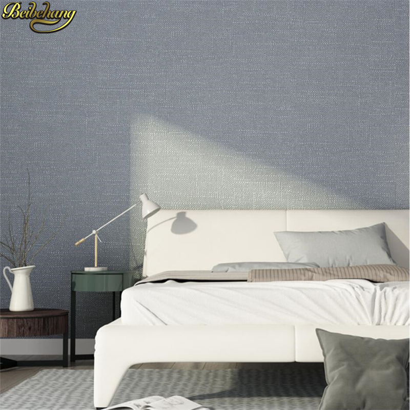 US $25.96 41% OFF|beibehang Nordic style solid color linen wallpaper modern  minimalist bedroom living room plain Nordic gray wall paper home decor-in  ...