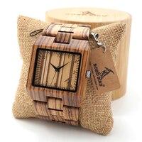 BOBO BIRD L24 Rectangle Zebra Mens Wooden Wrist Watch Top Brand Luxury Quartz Watches With Full