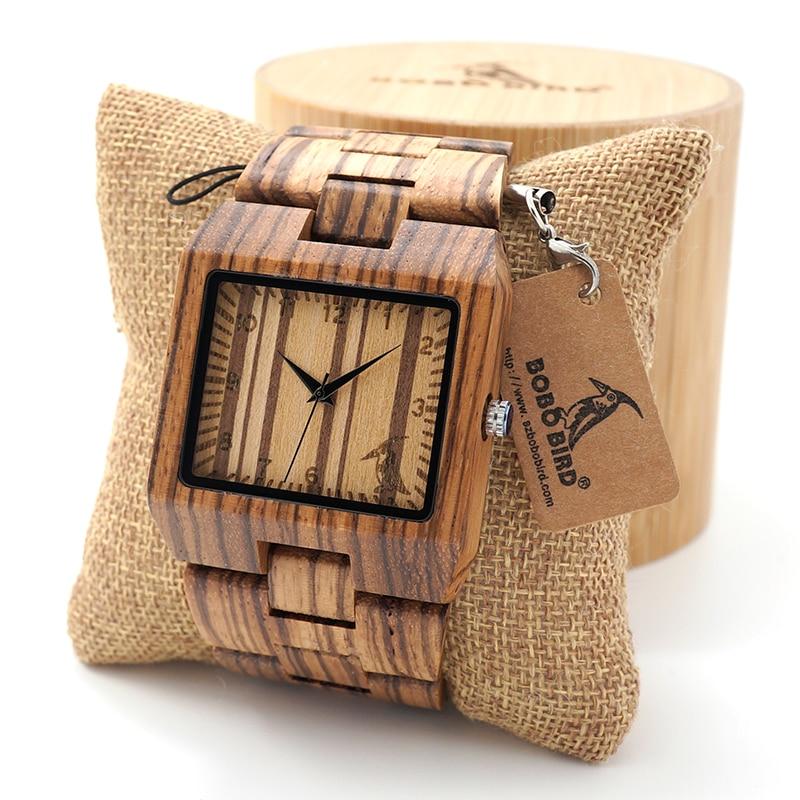 BOBO VOGEL Rechteck Zebra Herren Holz Armbanduhr Top-marke Luxus Quarzuhren mit Full Holz Band in Geschenkbox