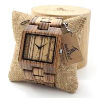 BOBO BIRD L24 Rectangle Zebra Mens Wooden Wrist Watch Top Brand Luxury Quartz Watches With Full