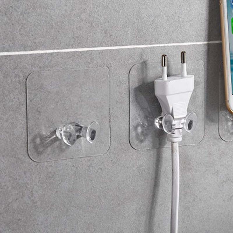 New Wall Hook 10pcs Wall Storage Hook Power Plug Socket Holder Wall Adhesive Hanger Home Bathroom Hooks