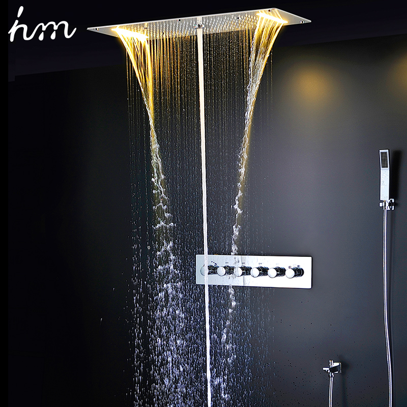 hm Concealed Thermostatic Shower Set SUS304 Mirror Panel With LED Shower Head 380x700 Rainfall Mist Spray Waterfall Water Column in Shower Faucets from Home Improvement