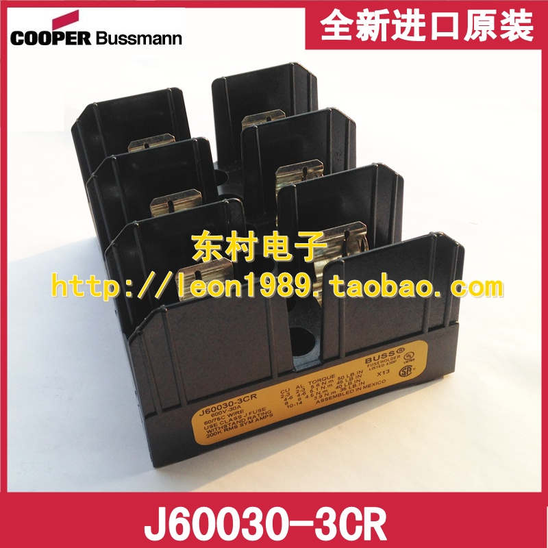 [SA]United States BUSSMANN fuse holder J60030-3CR J60030-3COR 30A 600V fuse holder 40a blade contact fuse link base holder nt00 500v 120ka 660v 50ka