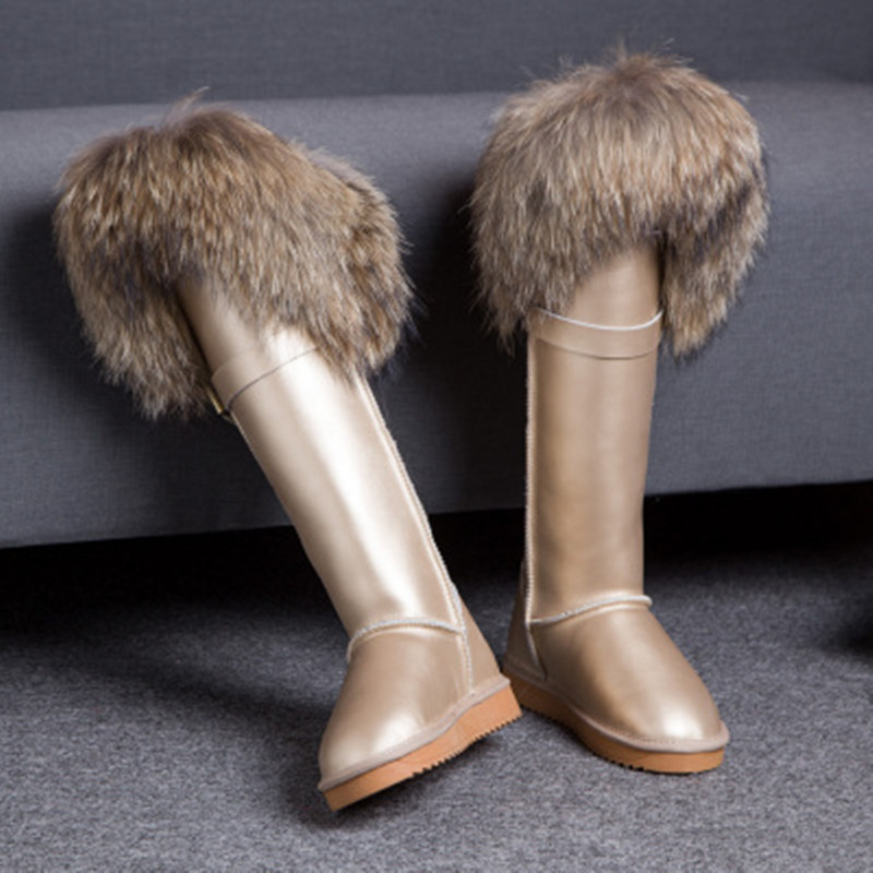 New Winter Genuine Leather Snow Boots Natural Fox Fur Knee