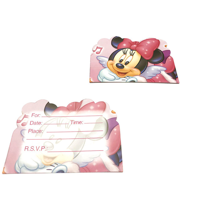 6pcslot Minnie Mouse Theme Paper Thank You Card Girl Birthday Party