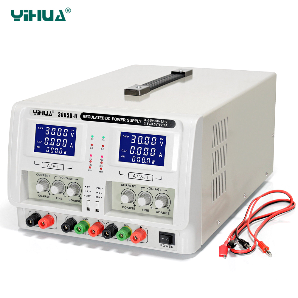 YIHUA 30V5A 3005D-II Regulated Laboratory DC Power Supply Dual Channel Triple Output Voltage Regulators Adjustable Power Supply dc power supply uni trend utp3704 i ii iii lines 0 32v dc power supply