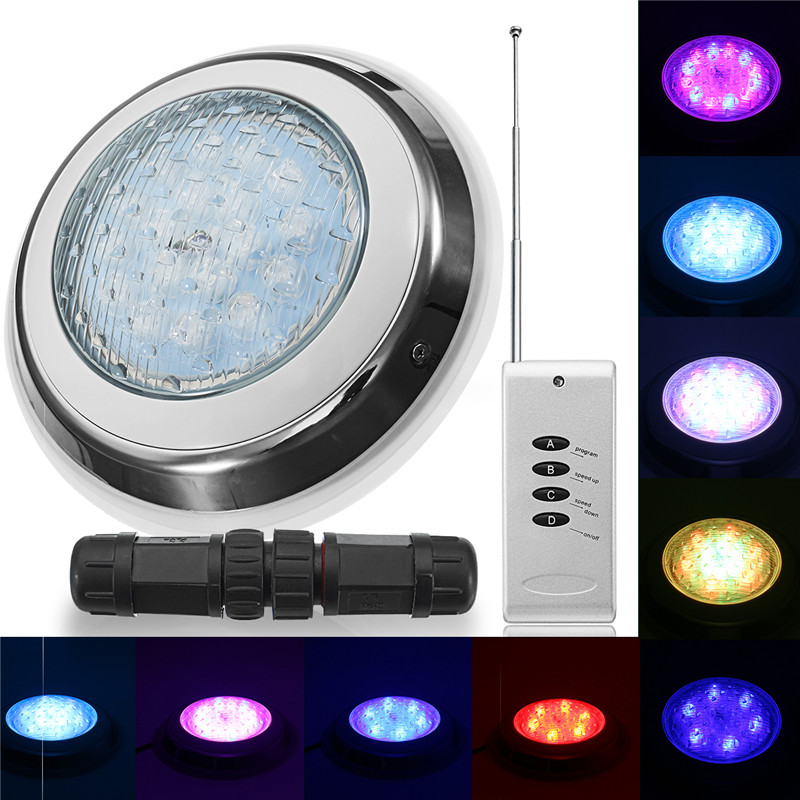 Smuxi LED Swimming Pool Light 54W AC 12V RGB IP68 LED Remote Control Underwater Lamp Outdoor Lighting Pond Lights LED Piscina