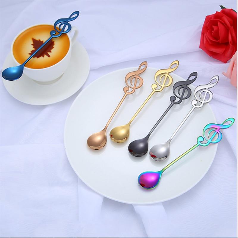 Музыка Чай ложка для молока Кухня перемешать Здоровые подарки десерт-бар Кофе ложка экономического ложки для питья Нержавеющая сталь дома