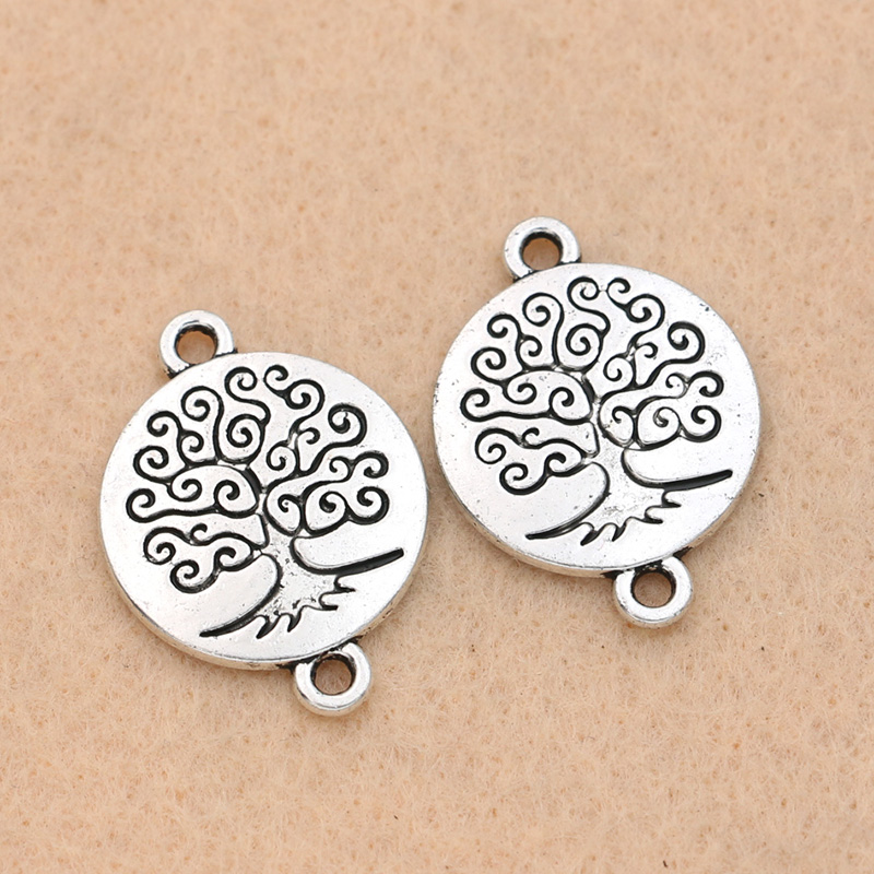 KJjewel Tibetan Silver Plated Tree of Life Connectors Charms Pendants Bracelet Necklace Je