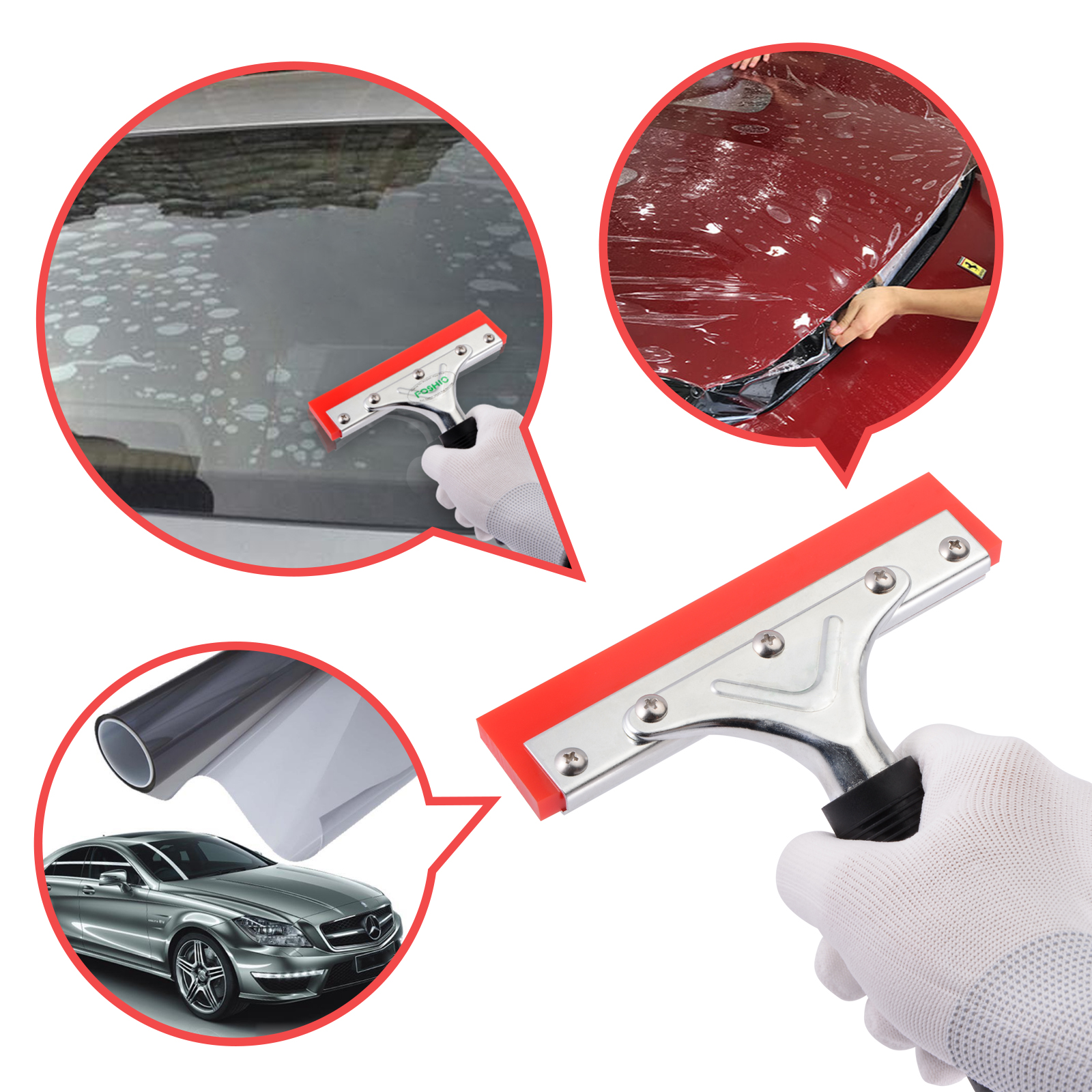Foshio Car Window Tint Squeegee Rubber Blade With Handle Vinyl Car Wrap Tool Glass Water Wiper Cleaning Tool Snow Ice Scraper