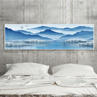 YongHe Home Decorative Canvas Printing Chinese Mountains Art Work Long Poster Watercolor Painting For Decorate Living Room
