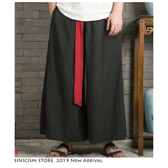 Sinicism Store 2020 Japanese Wide Leg Pants Men Streetwear Casual Cotton Linen Man Sweatpants Summer Chinese Style Male Joggers 29