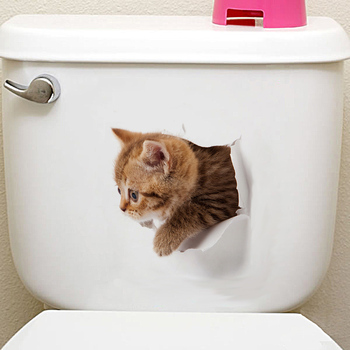 Cats 3D Wall Sticker Toilet Stickers Hole View Vivid Dogs Bathroom Home Decoration Animal Vinyl Decals Art Sticker Wall Poster 22