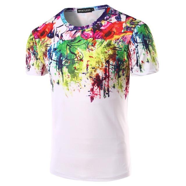 Colorful Graffiti Hombres Camiseta Slim Fit O cuello de