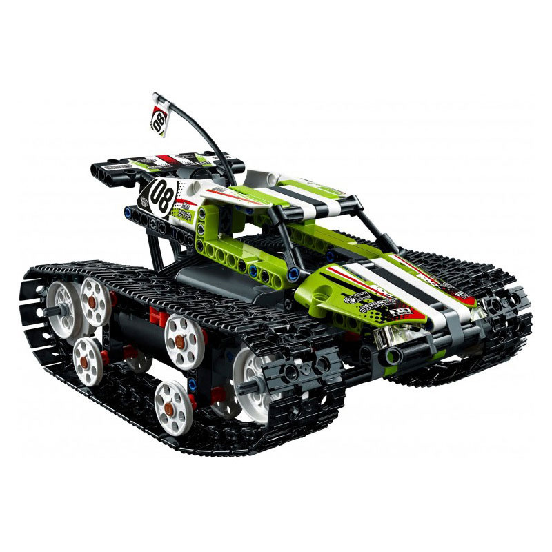 Hot 20033 397Pcs Technic Series The RC Track Remote-control Race Car Set Building Blocks Bricks Lovely Gifts Toys 42065 glow race track bend flex glow in the dark assembly toy 112 160 256 300pcs slot race track 1pc led car puzzle educational toys