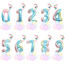 32inch rainbow number 1st birthday unicorn party foil balloons decorations kids toy safari