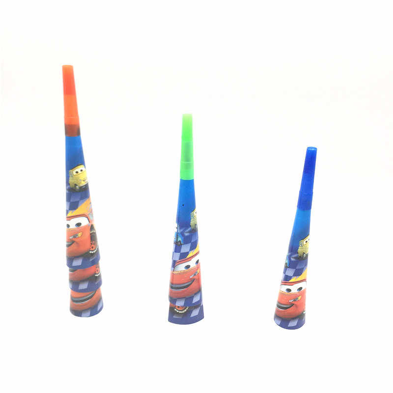 6pc/lot Disney Cars Theme Cartoon Trumpet Festival Horn Boy Girl Birthday Party Toy Horn Family Party Wedding Noise Maker Supply