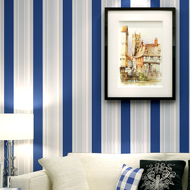 Modern Blue Vertical Stripe Wallpaper Roll for Living Room Background Kids Room 3d flocking Wall paper Rolls Wallcoverings shinehome 3d fantastic colorful balloons embossed wallpaper background mural rolls for kids living room wall paper decal art