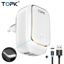 TOPK Multi-Port USB Charger LED Lamp Auto-ID Mobile Phone Charger Portable Tarvel EU&US Plug Wall Charger Adapter(China)
