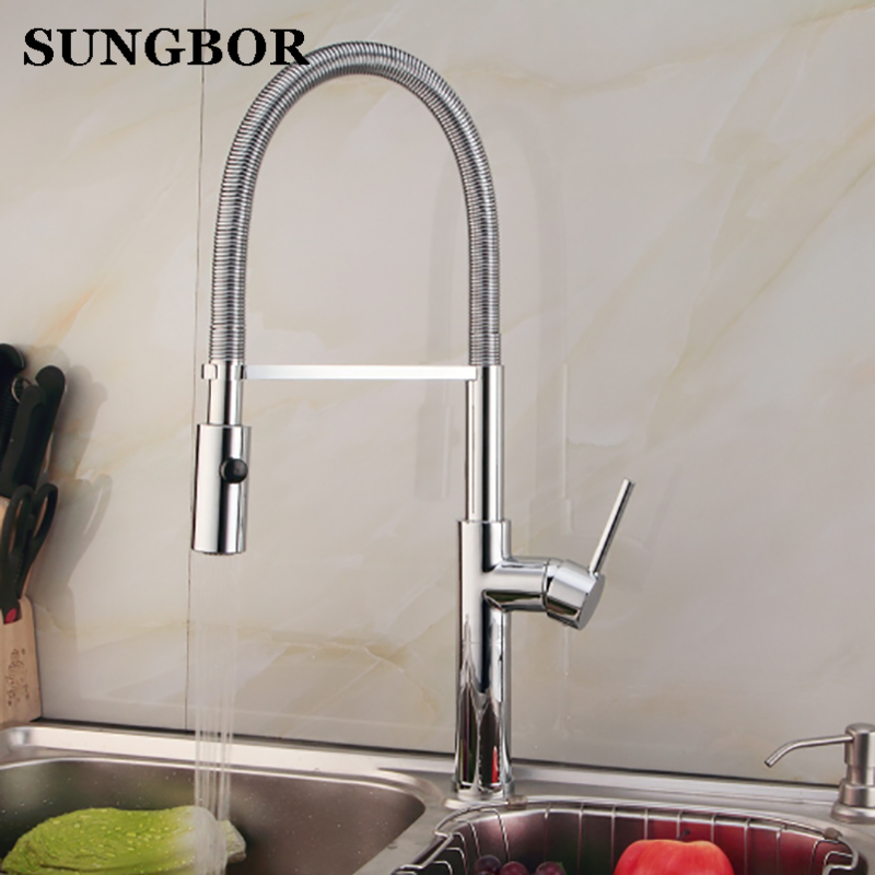 New Arrival Pull out Kitchen faucet 3 function Sink mixer Faucet Pull Out Dual Sprayer Nozzle Hot Cold Mixer Water Taps LT-908L
