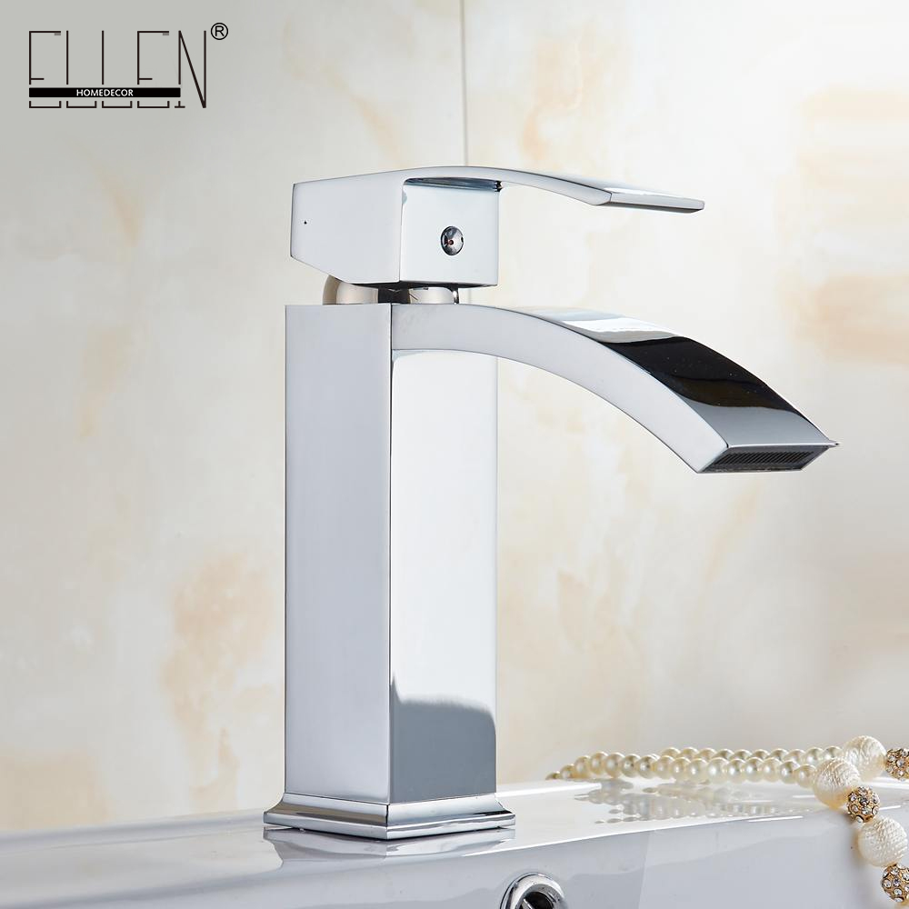 Waterfall Bathroom Basin Water Mixer Tap Chrome Crane Faucets for Bathroom Sink EL908