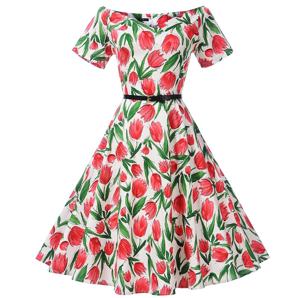 2a668b7a9dc8c 50s 60s Dress Audrey Hepburn Vintage Jurk Plus Size Rose Print Women Party  Dress Elegant Retro Swing Rockabilly Dresses Vestido