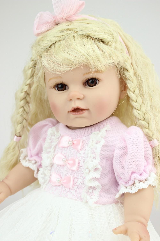 2016 New Fashion Beautiful Doll Reborn Realistic 16 inches Cute Doll Handmade Full Vinyl American Girl Doll Gift for Kids doll reborn princess18 inches american girl dolls babies realistic doll cute doll handmade full vinyl gift for children