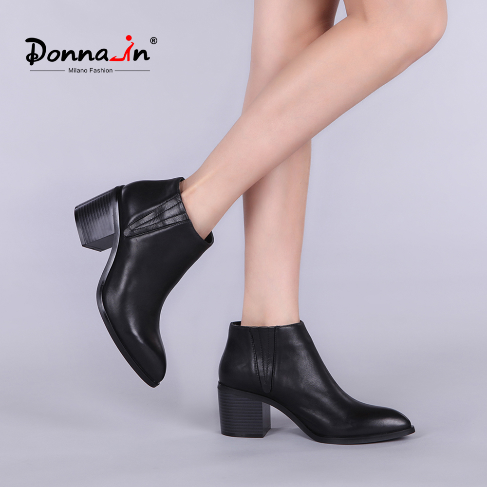 Donna-in women leather boot genuine calf leather ladies shoes pointed toe thick high heel ankle boots classic chelsea booties 2018 autumn new style genuine leather ankle boots pointed toe thick heel chelsea boots calf leather women boots ladies shoes