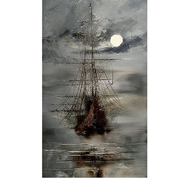 Handmade Modern Abstract Wall Art Picture Handpainted the Boat in the Sea Sailling Oil Painting on Canvas Decoartive