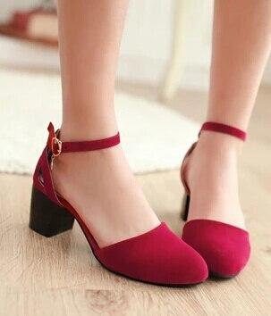 e8247f6f4 Mais de sapatos matagal ferrolho salto grosso rodada Toe sapatos para mulheres  sandálias feminino de salto baixo bombas de escritório em Sapatos femininos  ...