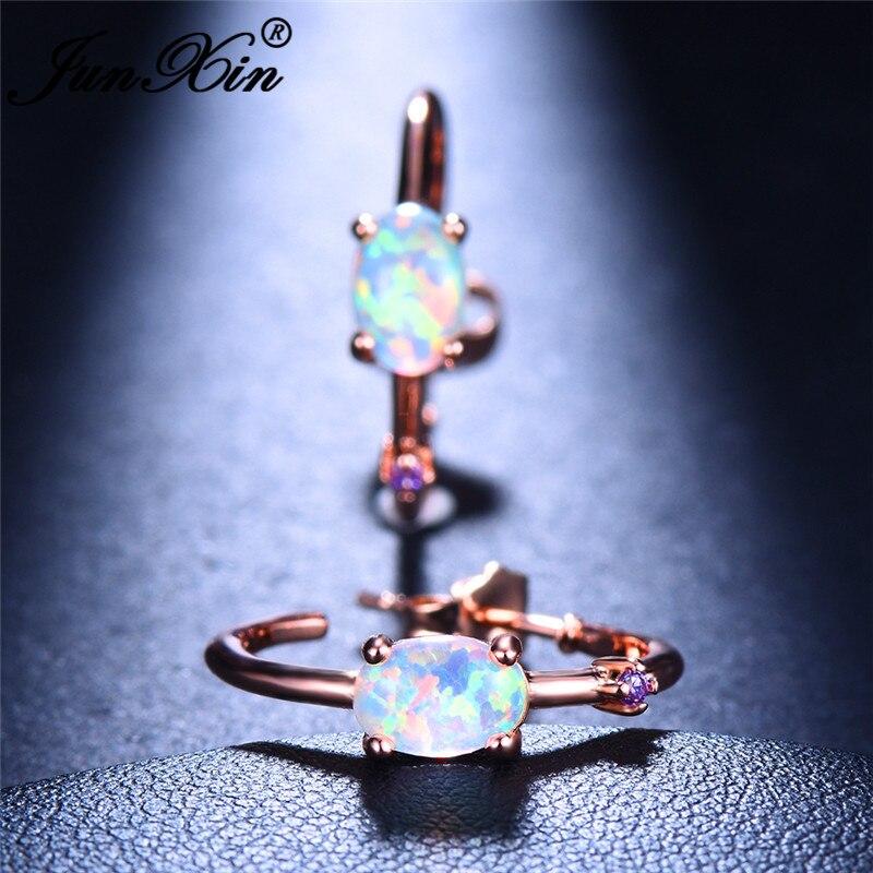 JUNXIN Oval White Blue Fire Opal Earrings For Women White Gold Rose Gold Filled Purple Zircon Big Round Hoop Earrings Wedding CZ
