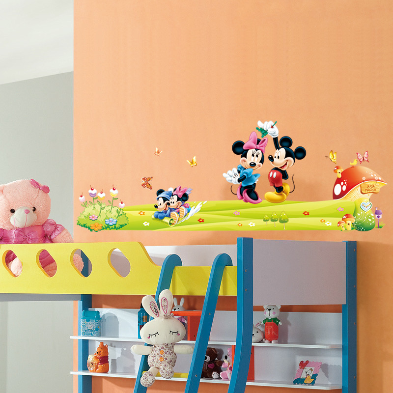 Mickey Minnie Mouse Carton Nursery Childrens Bedroom Decal Wall Art ...