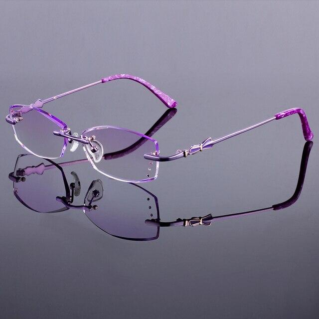 New Purple Women Titanium Alloy Glasses Frame Women Rimless Frame Diamond Trimming Cut Rimless Glasses With Gradient Tint Lenses