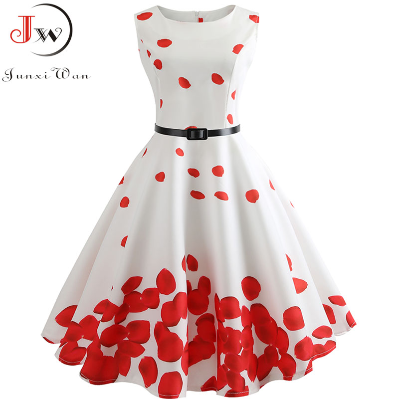Women Summer Dress Floral Print Retro Vintage 1950s 60s Casual Party Office Robe Rockabilly Dresses Plus Size Vestido Mujer 1